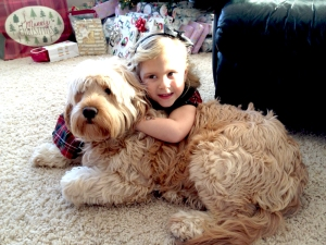 Minnie loves her little girl. Goldendoodle from Prior Lake, MN